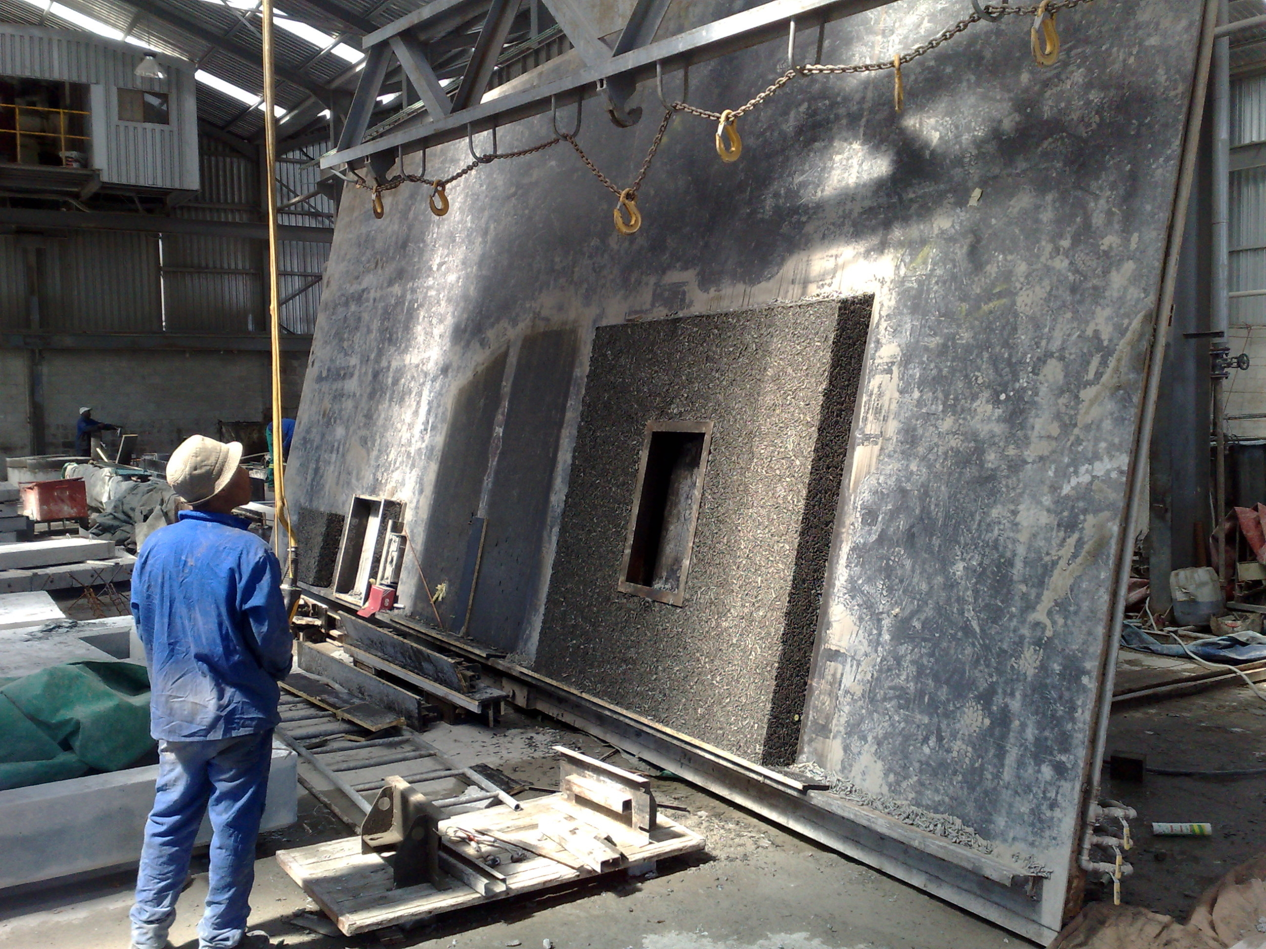 EviroCrete Precast Table Lifting vertical after 12 hours